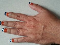 bronco nails Denver Broncos Nails, Football Nails, Go Broncos, Pedicure Nail Art, Mani Pedi, Manicure, Acrylic Nail Art, Cute Nails, Nail Designs