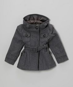 Gray Wool-Blend Belted Coat - Toddler & Kids by Right Bank Babies on #zulily