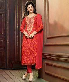 Buy Red Cambric Churidar Salwar Kameez 73030 online at lowest price from huge collection of salwar kameez at Indianclothstore.com.