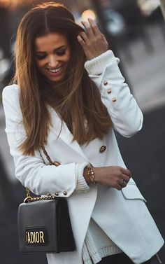 #winter #outfits white sweater, white jacket, black bag