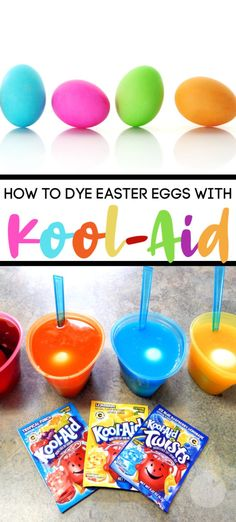 We love to decorate Easter eggs at our house. Sure, you can buy a regular dye kit, but if you want to try something different-- dye your Easter eggs with dye easter eggs kool aid Easter Crafts For Toddlers, Easter Activities, Toddler Crafts, Easter Games, Kool Aid, Easter Egg Dye, Coloring Easter Eggs, Easter Egg Basket, Easter Bunny