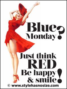 Blue monday? Just think red. Be Happy & Smile by Stylehasnosize #vintage