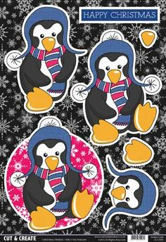 Buzzcraft Cut & Create - Christmas Friends - Percy the Penguin Christmas Sheets, Christmas Cards To Make, Christmas Stickers, Christmas Paper, Christmas Images, Xmas Cards, Christmas Crafts, December Daily, Birthday Photo Frame