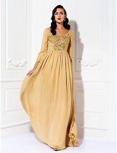 Mother of the Bride Dress Floor Length Chiffon A Line V Neck Dress – USD $ 139.99