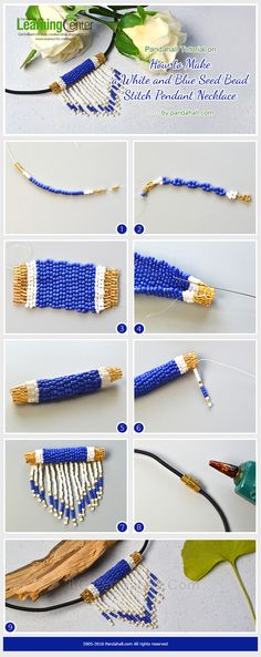 Pandahall Tutorial on How to Make a White and Blue Seed Bead Stitch Pendant Necklace