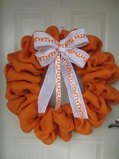 Orange Burlap UT Tennessee Wreath by TowerDoorDecor on Etsy, $50.00