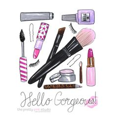 Hello GorgeousMakeup giftsWall art by theprettypinkstudio on Etsy
