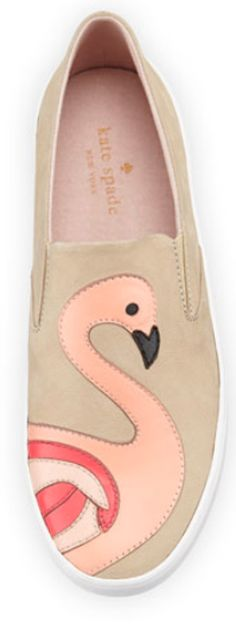 love these pink flamingo kate spade slip-on flats