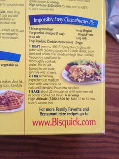 Incredibly Easy Cheeseburger Pie - Bisquick Recipes