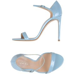 Casadei Sandals ($300) ❤ liked on Polyvore featuring shoes, sandals, slate blue, high heel stilettos, buckle sandals, casadei sandals, round cap and blue shoes