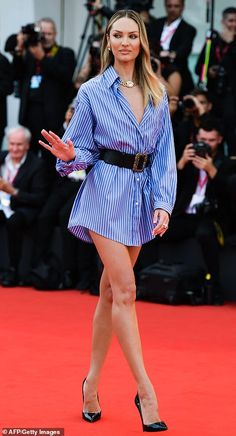 Tanned vision: South African model Candice Swanepoel, also cut a leggy figur. - Celebrity Style Week: Celebrity Style Fashion and Latest Trends African Models, Blue Shirt Dress, Dress Pants, Vs Models, Elsa Hosk, Candice Swanepoel, Girl Fashion, Womens Fashion, Lingerie Collection