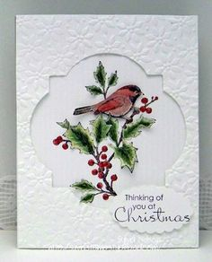 Stampin Up...like the textured layer on top of the image layer...negative die space just right for this sweet Christmas image...