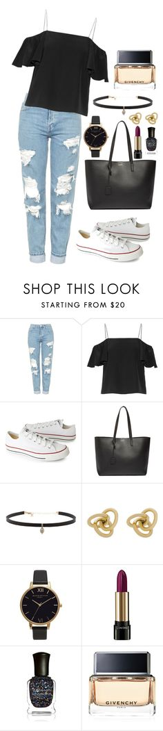 """Untitled #174"" by marr-neubauerova on Polyvore featuring Topshop, Fendi, Converse, Yves Saint Laurent, Carbon & Hyde, Oroton, Olivia Burton, Lancôme, Deborah Lippmann and Givenchy"