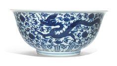 A large blue 'dragon' bowl, Jiajing mark and period (1522-1566)