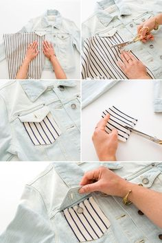 How to Upgrade Your Old Jean Jacket With Fabric - Jeans Jacket - Ideas of Jeans Jacket - How to Upgrade Your Old Jean Jacket With Fabric Diy Jeans, Jean Jacket Design, Jean Jacket Outfits, Jacket Jeans, Vest, Oversized Jeans, Stylish Jeans, Denim Ideas, Cool Diy