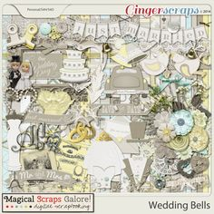 Wedding Bells Scrapbook one of the most important days of your life with this elegant, timeless (and a bit whimsical) collection. Based on a beautifully neutral color palette in shades of white and gray, with a touch of yellow and aqua, this collection has been designed to match any wedding color scheme and is perfect for documenting the big day itself as well as bridal dress shopping, getting ready pictures, and all of your wedding memories. This collection will give a lot of…