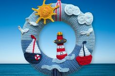 Crochet Amigurumis yourself - Amigurumi patterns for cats, key rings and other crochet manuals are waiting for you here! Simply crochet by yourself. Crochet Home Decor, Crochet Crafts, Crochet Projects, Free Crochet, Crochet Christmas Wreath, Crochet Wreath, Crochet Flowers, Baby Kranz, Nautical Crochet