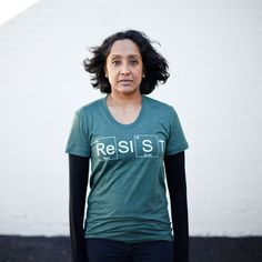 RESIST - Womens Climate Change Awareness Shirt on Green - Support The Environment & Scientific Facts