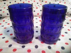 Vintage Cobalt Blue Glasses - Beautiful Pair of Cobalt Blue Drinking Glasses - Cobalt Vases - Cobalt Blue Drinking Glasses, Champagne Glasses, Shot Glasses, Liqueur Glasses, Cobalt Blue, Shades Of Blue, Vases, Vintage Items, Crystals