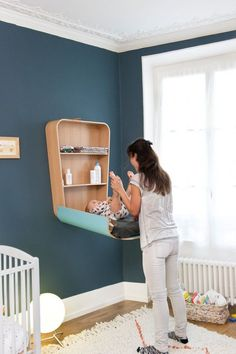 Crane Wickeltisch klappbar Modell - -Charlie Crane Wickeltisch klappbar Modell - - For more information visit our website quartos de bebê dos famosos Komodo Wall Changing Table Baby Bedroom, Baby Boy Rooms, Baby Room Decor, Nursery Room, Kids Bedroom, Nursery Decor, Nursery Ideas, Bedroom Ideas, Baby Room Colors