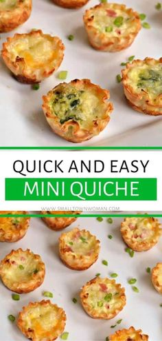 Thia Mini Quiche recipe is an easy holiday party appetizer that is quick to put together! It is a delectable crowd-pleasing recipe that is made of precooked fillo shells vegetables, meats and cheeses. Save this finger food for later! Mini Quiches, Mini Egg Quiche, Mini Quiche Recipes, Tart Recipes, Quiche Recipe For A Crowd, Baking Recipes, Salad Recipes, Holiday Party Appetizers, Meat Appetizers
