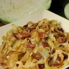 Fried Cabbage with Bacon, Onion & Garlic. This is a side dish where the title says it all. Cabbage is fried with bacon, onion, and garlic for a side dish you'll want to eat again and again. Autoimmun Paleo, Paleo Recipes, Cooking Recipes, Easy Recipes, Paleo Food, Cooking Tips, Fried Cabbage Recipes, Bacon Fried Cabbage, Veggies