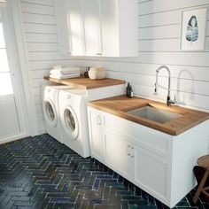 modern laundry room design, modern laundry room organization, laundry room cabinets with sink and open shelves and tile floor, laundry in mudroom design Laundry Room Remodel, Laundry Room Organization, Laundry Room Design, Laundry Room Utility Sink, Laundry Decor, Basement Laundry Rooms, Laundry Room Floors, Laundry Room Sink Cabinet, Laundry Room Countertop