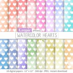 Hearts digital paper WATERCOLOR  HEARTS backgrounds with by Grepic, $4.90