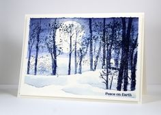A couple of days ago I posted a autumn themed card created with the 'snowy grove' stamp; I only used two colours for this one which thankfully I wrote on the … Penny Black Cards, Penny Black Stamps, Watercolor Christmas Cards, Watercolor Cards, Xmas Cards, Holiday Cards, Winter Trees, Winter Cards, Creative Cards