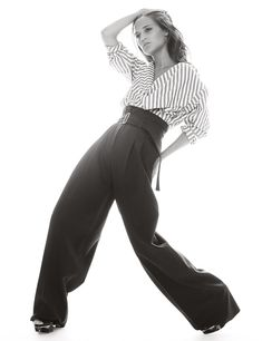 Alicia Vikander wears striped shirt and pants Pose on Harper's Bazaar UK Magazine January 2016 Photoshoot