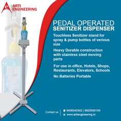Hand Sanitizer Dispenser Stand enables user to sanitize their hands with a simple tap of their foot. This stand is fully adjustable for various bottle types, simply adjust the base and insert either a liquid gel bottle or a spray bottle. This foot operated device would be most effective in hospitals, clinics, banks, malls, shops, factories, places of business or even at your front door. Conveyor System, Hand Sanitizer Dispenser, Factories, Hospitals, Spray Bottle, Banks, Engineering, Shops, Business