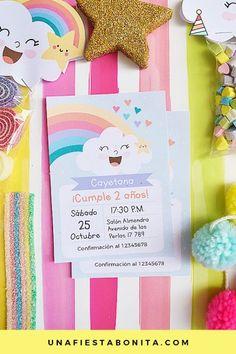invitacion para imprimir nubes y arcoiris Rainbow Birthday, Baby Birthday, Baby Shower Cards, Baby Boy Shower, Rain Baby Showers, Cloud Party, Baby Shower Balloons, Unicorn Party, Birthday Invitations