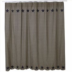 "This black and khaki check shower curtain features an appliqued border of stars at the top and bottom. Measures 72x72"", 100% cotton, and features button holes for your shower hooks. #country #bathroom #shower #curtains"