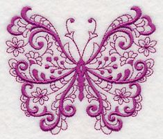 Looking for machine embroidery designs? These are some of the most popular machine embroidery designs online! Sewing Machine Embroidery, Paper Embroidery, Learn Embroidery, Free Machine Embroidery Designs, Embroidery Applique, Embroidery Stitches, Fantasias Halloween, Embroidery Techniques, Butterfly Design