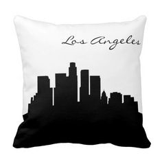 #Black and #White #Los #Angeles #Skyline #pillow #zazzlebesties  #zazzle #shopping #gifts
