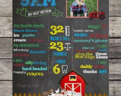 Personalized BARN FARM ANIMALS Country Old McDonald My First Birthday Custom Chalkboard Sign Poster Birthday Party Wall Display Photoshoot