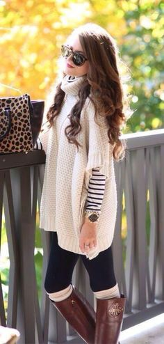 Cute outfits ideas with leggings suitable for going out on fall 32