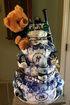 Yankees theme 4 tier diaper cake for my grandson Luc