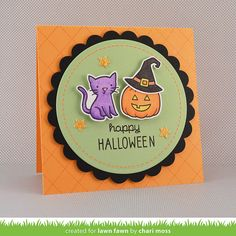 Lawn Fawn - Spooktacular + coordinating dies, Argyle Backdrops, Circle Stackables, Scalloped Circle Stackables _ card by Chari for Lawn Fawn Design Team