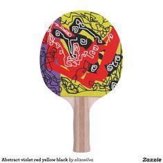 Abstract violet red yellow black pala de ping pong