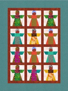 Traditional African girl paper pieced pattern and quilt