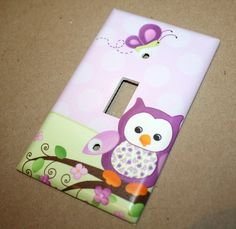Purple Owl Girls Bedroom Single Light Switch Cover by ToadAndLily, $7.00
