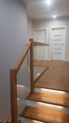 Home Stairs Design, Stair Railing Design, Stair Decor, Home Office Design, Home Interior Design, House Design, Metal Barn Homes, Metal Building Homes, Split Entry Remodel