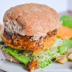 Sweet Potato Chickpea Burger with Apricot Mustard & Rosemary Potato Fries and the recipes for both to make the perfect date night or party meal. Totally plant-based!
