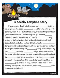 A Spooky Campfire Fill-Them-in Tale (Family Fun) - Totally a MUST for a mini camping trip - and knowing my familys sense of humour. LOL :) - I can already imagine the laughter. Camping With Kids, Go Camping, Camping Activities For Kids, Family Camping, Camping Ideas Games, Camping Indoors, Camping Games For Adults, Camping Stuff, Camping Crafts