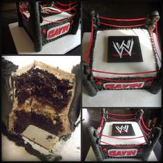 "Wwe Cake (Wrestling Ring) - Souvenir Cake 8"" Snickers Cake: Layer 1: Chocolate WASC Cake Layer 2: Snickers Ganache Buttercream Layer 3..."