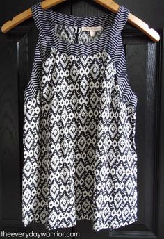 Sleeveless top. Stitch Fix spring/summer 2016 -- love the pattern mixing. Great…