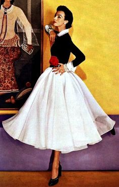 1951 vintage outfit, #black and #white #dress
