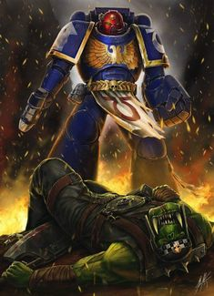 Sorry to say (not really) that the Ork got given the powerfist of denial from our Ultramarine Vet Sergeant. Please like my faceb. Angel of Death Warhammer 40k Art, Warhammer Fantasy, Ultramarines, Chaos Daemons, John Stones, Grey Knights, Dark Power, Dark Eldar, Imperial Fist