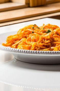 Spiralized sweet potatoes and apple sautéed in browned butter and orange juice. #FN Dish